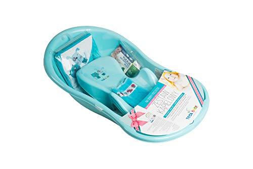 Tega Baby ® SET 5-teilig Badewanne Badesitz für Baby, ab 0 Monate mit eingebautem Thermometer - Anti-rutsch, GESCHENK für Neugeborene (allein, Katze und Hund - blau)