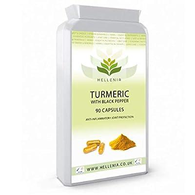 Hellenia Turmeric 600mg with Black Pepper (Piperine) - High Strength - 90 Capsules - Natural Source of Curcumin