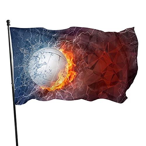 GOSMAO Bandera Bandera Pelota de Tenis en el Fuego y el Agua Resistente a la decoloración Exterior Bandera de jardín de poliéster para decoración del hogar al Aire Libre 150X90cm