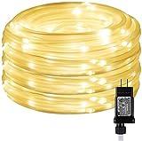 CHOUREN Luces en cuerda LED con temporizador, 8 modos, baja tensión, a prueba de agua, blanco cálido, 33 pies 100 LED interior del enchufe al aire libre en la luz de la cuerda y la cadena for el parti