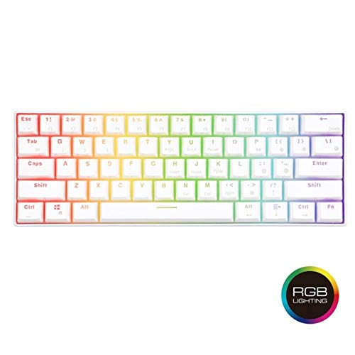 Rk61 RGB Mechanical Gaming Keyboard Small Compact 61 Keys Wireless Bluetooth Portable Office Blue Brown Red Switch Tkl Keyboard,RGB Version-White,China