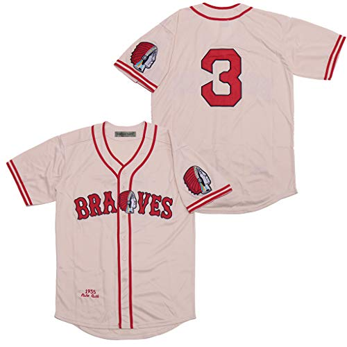 Rainbow Hawk Mens #3 Babe Ruth Boston Braves 1935 Baseball Jersey (Beige, XXL)