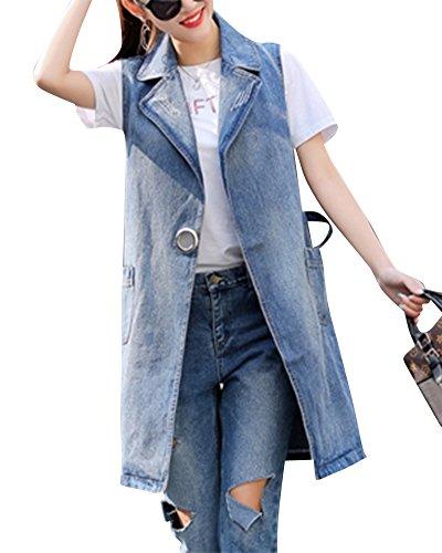 Yonglan Donna Lungo Gilet di Jeans Tinta Unita Risvolto Senza Maniche Denim Giacca Cardigan Cappotto Aspicture XXL