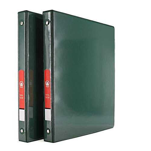 """Emraw Super Great 1/2"""" 3-Ring View Binder with 2-Pockets - Available in Green - Great for School, Home, & Office (2-Pack)"""