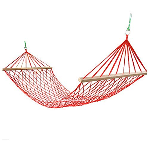 N/A Outdoor hammock TW Mesh camping hanging sheet with wooden sticks, nylon rope hanging chair with tree rope, summer swing bed (Color : A)