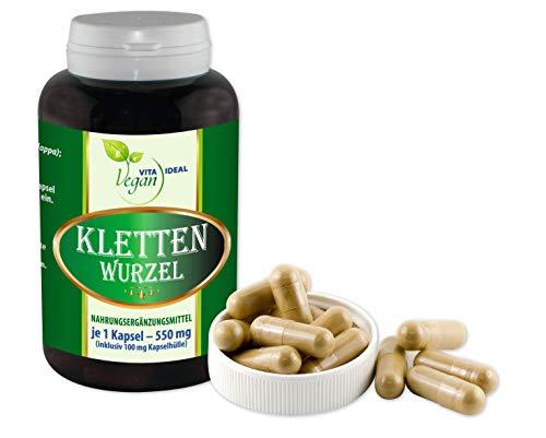 VITAIDEAL VEGAN® Klettenwurzel (Burdock root) 360 pflanzliche Kapseln je 550 mg, rein natürlich ohne Zusatzstoffe.