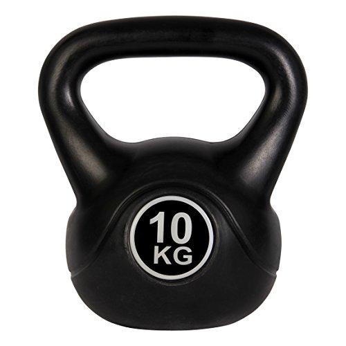 POWRX Pesa Rusa de hormigón 4-12 kg - Kettlebell con Revestimiento de Vinilo y Agarre Antideslizante + PDF Workout (8 kg Negro)