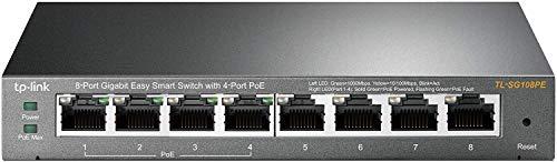 TP-Link TL-SG108PE Switch Gigabit Easy Smart a 8 porte con 4 porte PoE + (64 watt, porte RJ-45 schermate, IEEE-802.3af / at, configurazione semplice, senza ventola) nero