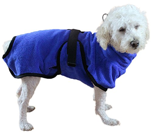 Hundebademantel Mikrofaser Hundemantel Doggy Dry hund Trockenmantel mit verstellbaren Trägern- Gr. S, Blau