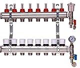 Colectores de calefacción por suelo radiante de acero inoxidable, 2-12 opciones de puertos