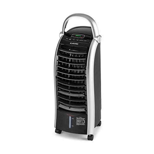 Klarstein Maxfresh - Enfriador de aire 3 en 1, Climatizador evaporativo, 55 W, 444 m³/h, 4 velocidades, 3 modos: normal, naturaleza, noche, Temporizador hasta 15 h, Capacidad: 6 L, Antracita