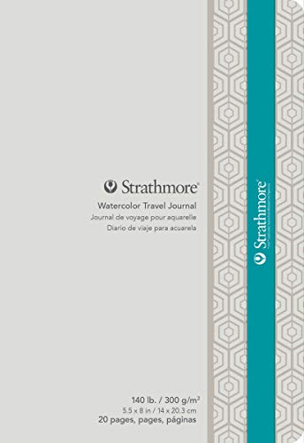 Strathmore 500 Series Watercolor Travel Journal, Cold Press, 5' x 8', 20 pages, White