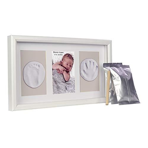 ベビーフォトフレーム 手形 足型 赤ちゃん ベビーフレーム 木製 ガラス 置き掛け兼用 出産祝い 内祝い ベビー記念品 ホワイト