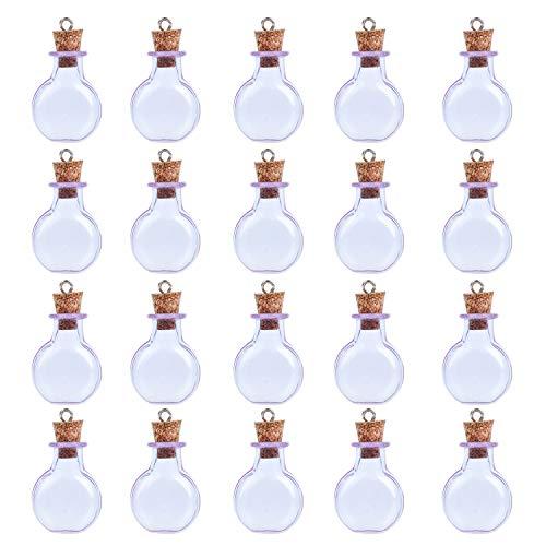 Coolty 20pcs Mini Botellas de Cristal con Tapón de Corcho de Madera para Decoración Artesanal de Bricolaje (Púrpura)