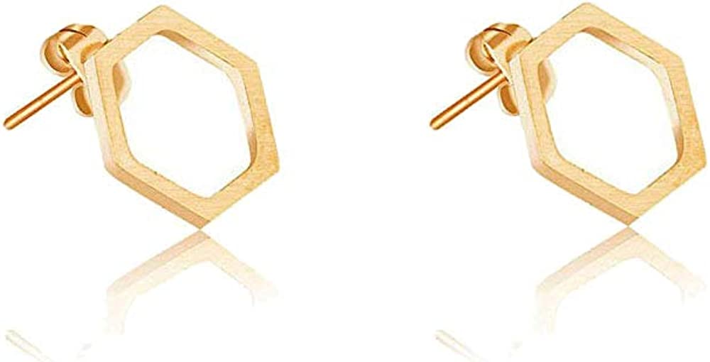 RUIZHEN Simple Hexagon Honeycomb Hive Gorgeous Tucson Mall Bee Earrings Stud