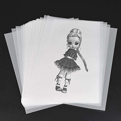 Carta Trasparente, 100 Pezzi Carta da Lucido Trasparente, Fogli di Lucidi, Carta per Copie Trasparente, per Stampa, Grafica, Disegno, Architettura, Design, Disegno