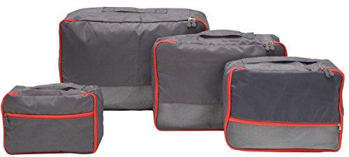 eyepower 4 Kofferorganizer S-XL Reise Packtaschen Set Rucksack Packwürfel Koffer Taschen Kleidertaschen Packhilfe Grau
