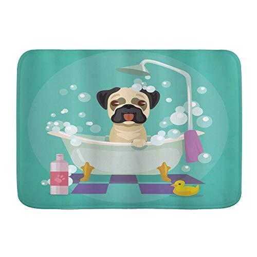 VINISATH Alfombra de baño,Perro Pug en la bañera Aseo Perrito Cachorro Salón Champú Pato de Goma Mascotas Dibujos Animados,Alfombra Absorbente,Alfombra de baño,Dormitorio,Cocina,Suelo de Inodoro