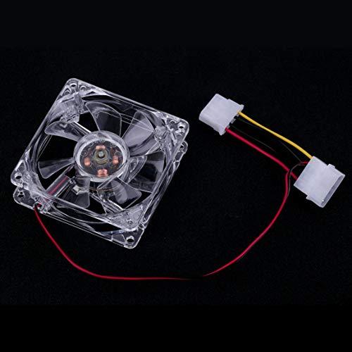MOHAN88 Ventiladores de 80 mm de fácil instalación 4 LED Azules para computadora PC Estuche Enfriamiento PC CPU Enfriamiento Enfriador Ventilador Tipo silencioso Transparente-Transparente