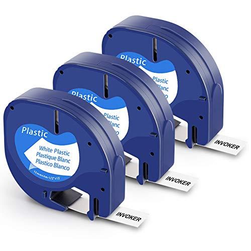 Invoker kompatible Schriftband als Ersatz für Dymo LetraTag S0721660 91221 Kunststoff Etikettenband 12mm x 4m,für Dymo LetraTag LT-100H LT-100T LT-110T QX 50 XR XM 2000(Schwarzer auf Weiß,3er-Pack)