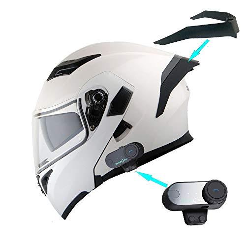 1Storm Motorcycle Modular Full Face Flip up Dual Visor Helmet + Spoiler + Motorcycle Bluetooth Headset: HB89 Glossy White