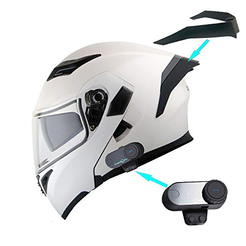 1Storm Motorcycle Modular Full Face Flip up Dual Visor Helmet + Spoiler + Motorcycle Bluetooth Headset: HB89 Glossy White