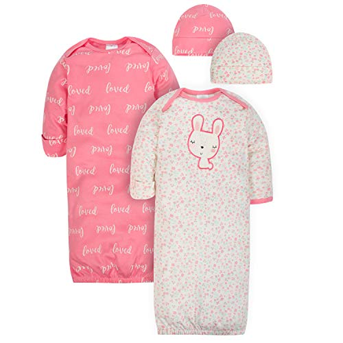 Gerber Baby Girls 4-Piece Organic Gown and Cap Set, bunny love, 0-6 Months