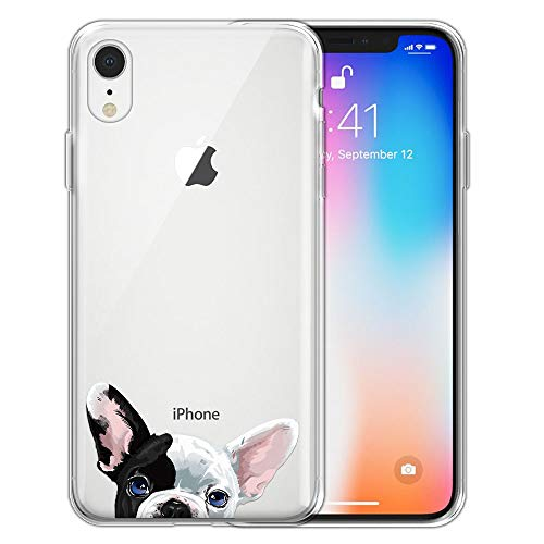 FINCIBO Case Compatible with Apple iPhone XR 6.1 inch, Clear Transparent TPU Silicone Protector Case Cover Soft Gel Skin for iPhone XR - French Bulldog Puppy Dog Eyepatch
