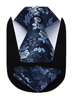 HISDERN Men s Floral Tie Handkerchief Jacquard Woven Classic Men s Necktie & Pocket Square Set,Navy Blue,8.5cm / 3.4 inches in Width