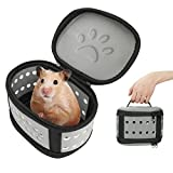 BestFire Hamster Carrier Handbag Portable Hamster Travel Case Pet Carrier Pouch Rats Travel Box Breathable Carrier Bag for Small Animals, Gray