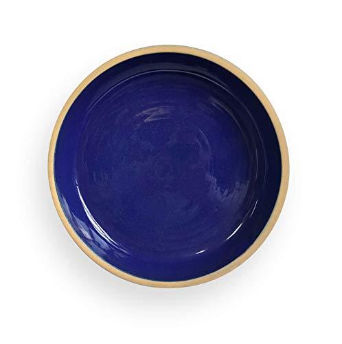 K&K Unterschale/Untersetzer Bunzlau rund 18 x 3,5 cm, BLAU aus hochwertiger Steinzeug-Keramik