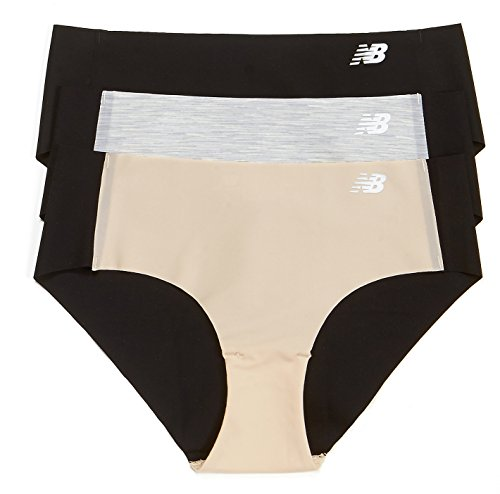 New Balance Women's Laser Hipster Panties (3 Pack), Black/Concrete Grey Space Dye/Nude, Small