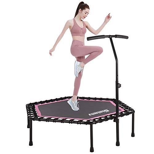 Gielmiy Fitness-Trampoline,leise Gummiseilfederung ,mit höhenverstellbarem Haltegriff, Indoor/Outdoor Jumping Trampolin Bungee Fitnesstrainer,bis 150kg