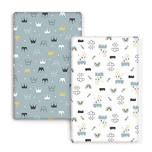 GRSSDER Stretch Ultra Soft Jersey Knit Fitted Pack n Play Playard Sheets Set 2 Pack. Portable/Mini Cribs Playards Sheets, Crown and Cloud for Girls and Boys…