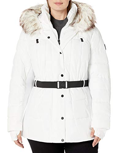 London Fog (LONAG) Women's R460380B93 Down Alternative Coat, White, 2X