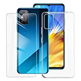 KJYF Fundas para Huawei Honor X10 MAX (7.09 Pulgadas) + Protectores de Pantalla in Cristal Templado HD, Flexible Case Caso Cover Transparente TPU Silicona - Transparente