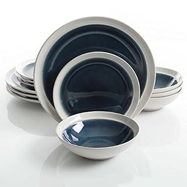 Gibson Elite Clementine 12-Piece Dinnerware Set Service for 4, Blue Reactive Glaze