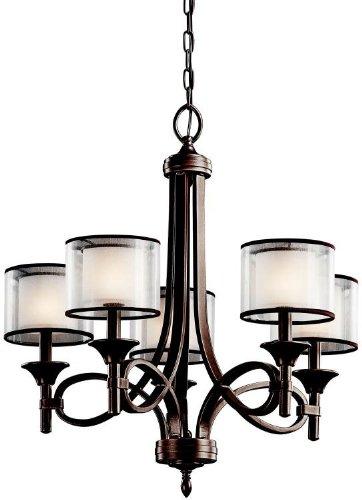Kichler 42381MIZ, Lacey Candle Chandelier Lighting with Shades, 5 Light, 300 Watts, Mission Bronze