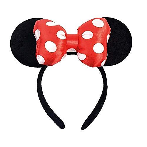 Diadema con orejas de Mickey Mouse negro y lazo suave acolchado con lunares...
