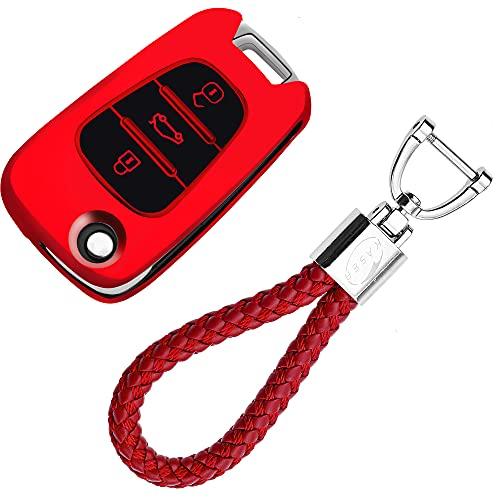 kaser Funda de Silicona para Llave Kia Hyundai – Cover Carcasa de TPU Cromo Suave para Sportage Rio Ceed Picanto Optima iX35 i30 Tucson Protección Llaveros Mando a Distancia (Rojo)