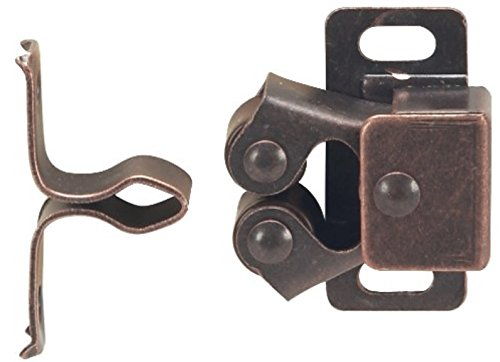 MPJ Double Roller Catch, Brown Antique Copper, with Screws, Contractor Pack (2)