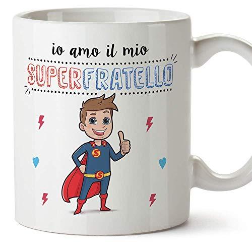Mugffins Fratello Tazza/Mug - Io Amo Il Mio Super Fratello - Idea Regalo Originale di Compleanno - Tazza Miglior Fratello in Ceramica. 350 ml
