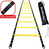 KUACALL Agility Ladder 6m 12 Rungs football Training Equipment with 5cm Tick Marks 4 Metal Pegs and Carry Bag Benefit to Adjustment Footwork Ladder Speed Ladder (Yellow)