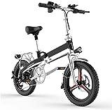 Bicicleta eléctrica de nieve, Bicicleta eléctrica plegable de aleación de aluminio de la bici plegable de la montaña de bici adapta a todos los cambios de marcha de 7 velocidades Engranajes, E-Bikes B