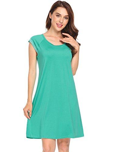 Ekouaer Damen Nachthemd Nachtkleid Nachtwäsche Sleepwear Sleepshirt Casual Kleid mit Spitze