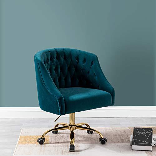 Velvet Low Back Task Chair for Home Office or Vanity - Teal