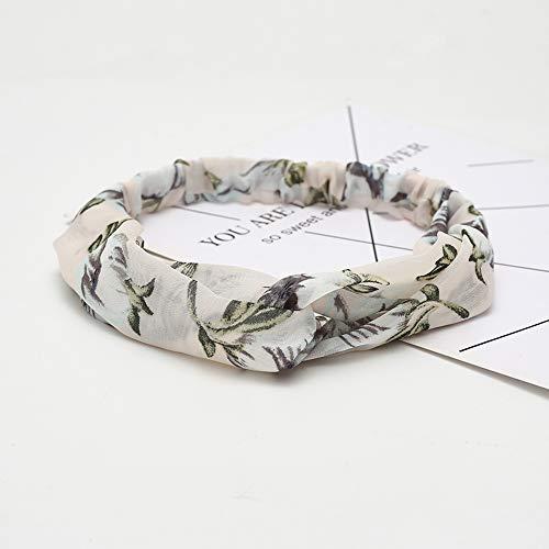 KAEHA SUN-083-05 Elastische Haarbänder Turban Head Wrap Style Schal Deko Haarschmuck für Frauen Blume Lilie weiß