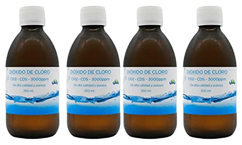 Kit Potabilizador de Agua   CDS   CDL   Dióxido de Cloro   3000 ppms   Alta Calidad   Descuento por cantidad   Envío 24h GRATIS - 4 Frascos de 250 ml = 1000 ml