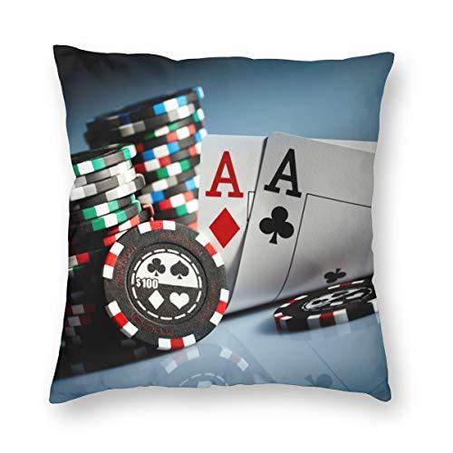 LiBei Kissenbezug Poker Tournament Gambling Chips and Pair Cards Aces Casino Wager Games Hazard Home Decor Sofa Werfen Kissenbezüge Pillowcases 45x45cm