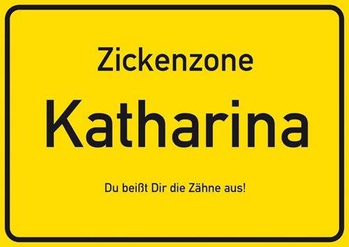 Postkarte Kunststoff +++ NAMENSSCHILD von modern times +++ KATHARINA +++ ARTCONCEPT ZICKENSCHILDER